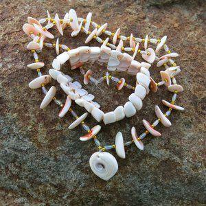 Pink Shell Necklace and Bracelet SET